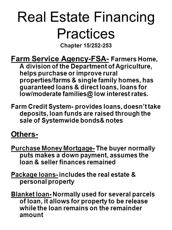 Real Estate Financing Practices Chapter 15/252-253