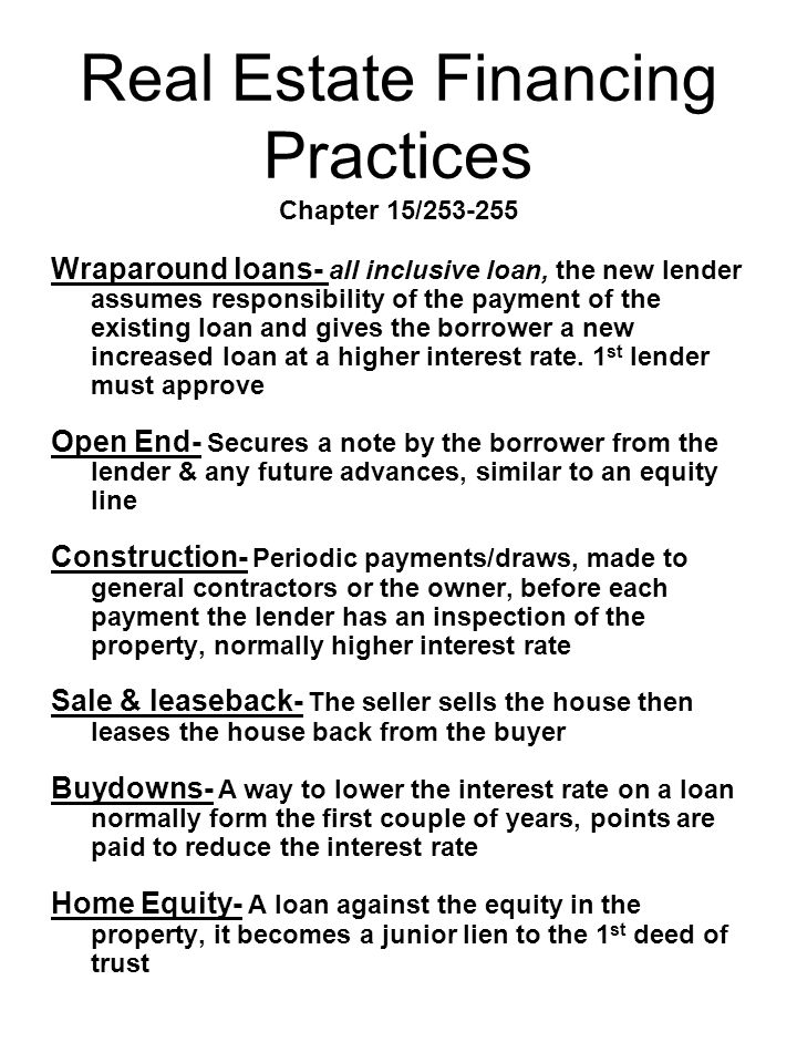 Real Estate Financing Practices Chapter 15/253-255