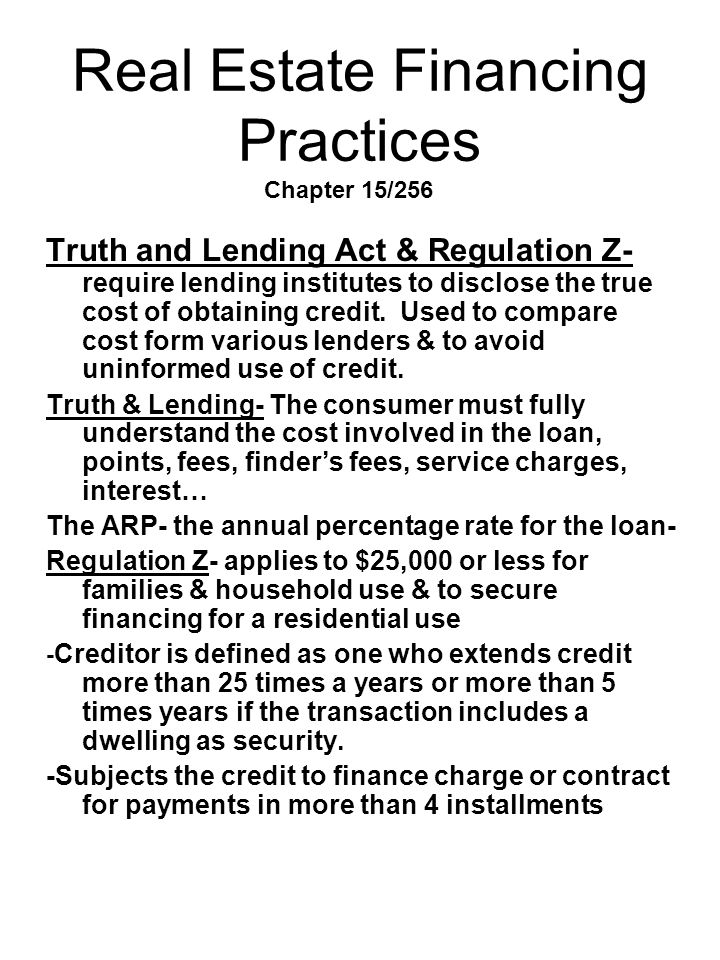 Real Estate Financing Practices Chapter 15/256