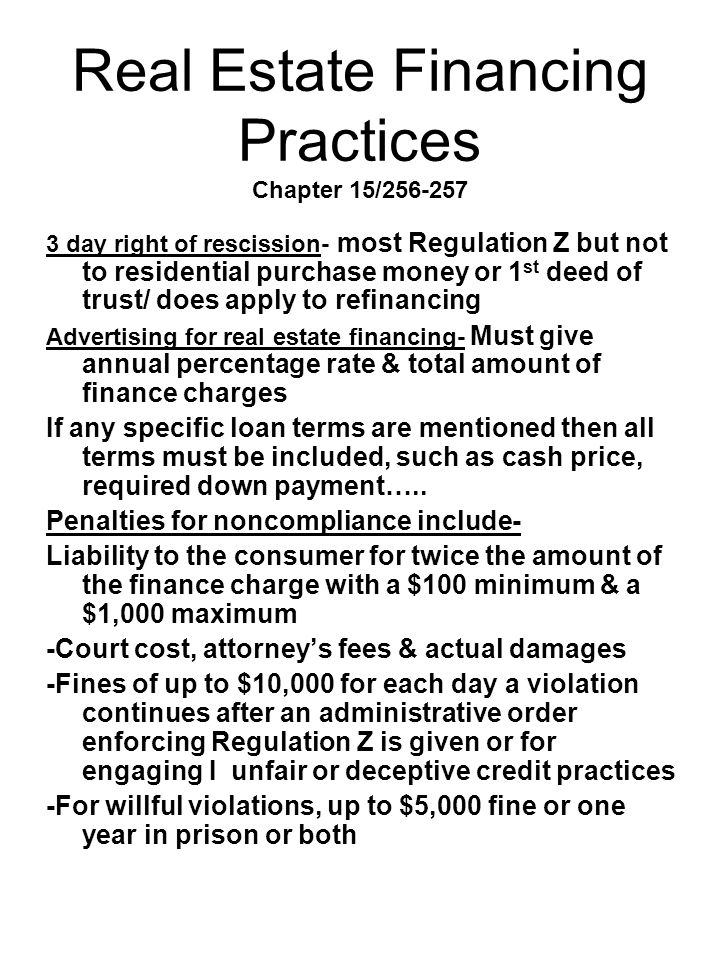 Real Estate Financing Practices Chapter 15/256-257