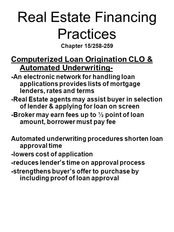 Real Estate Financing Practices Chapter 15/258-259