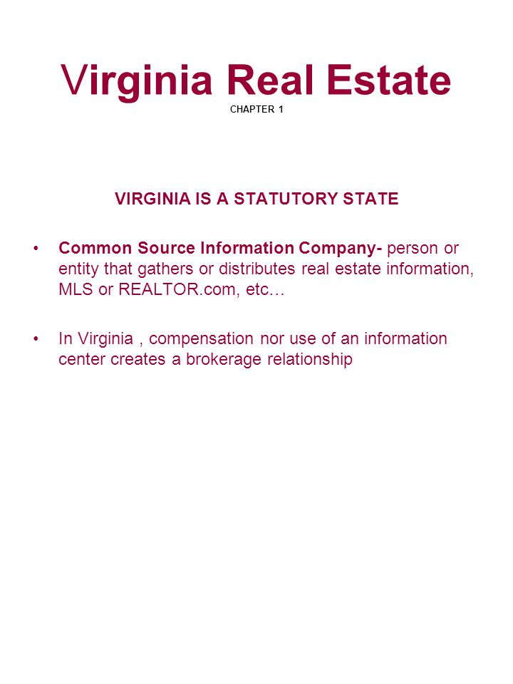 Virginia Real Estate CHAPTER 1