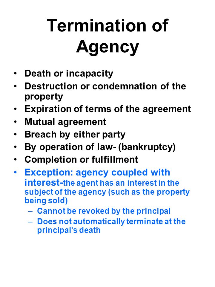 Termination of Agency Death or incapacity