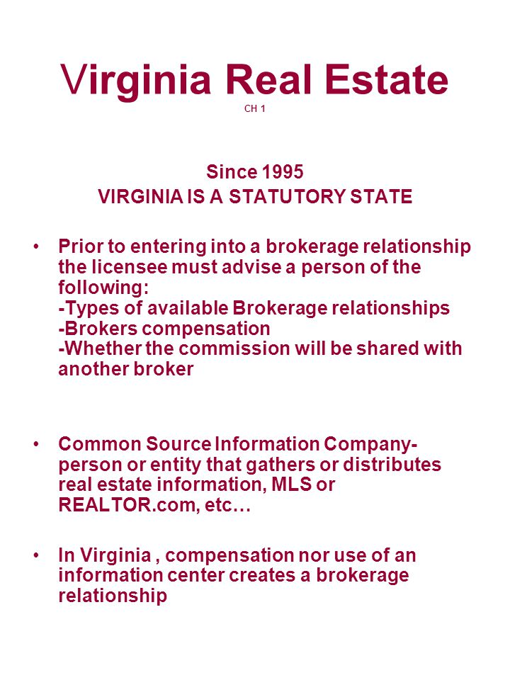 Virginia Real Estate CH 1