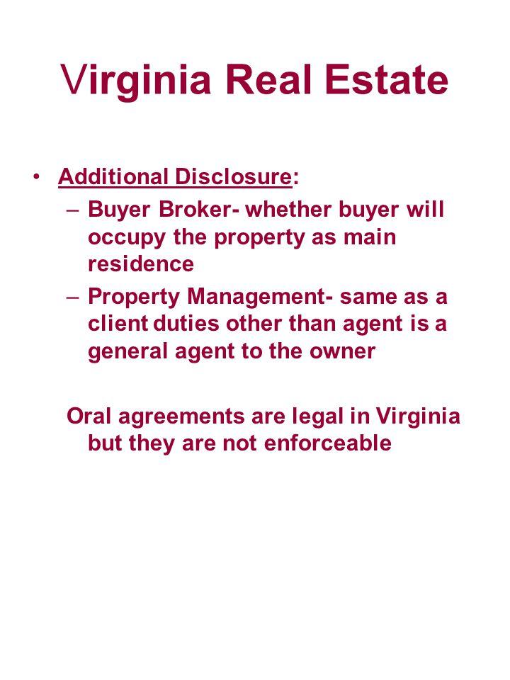 Virginia Real Estate Additional Disclosure: