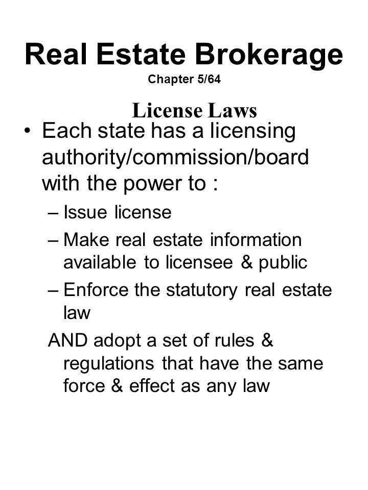 Real Estate Brokerage Chapter 5/64