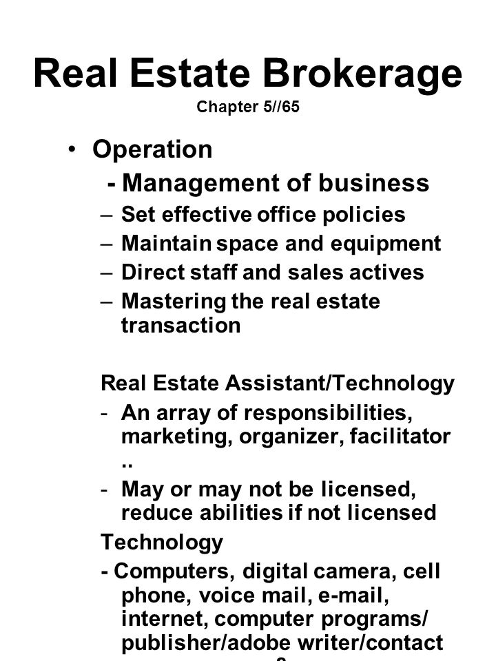 Real Estate Brokerage Chapter 5//65