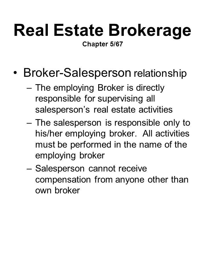 Real Estate Brokerage Chapter 5/67