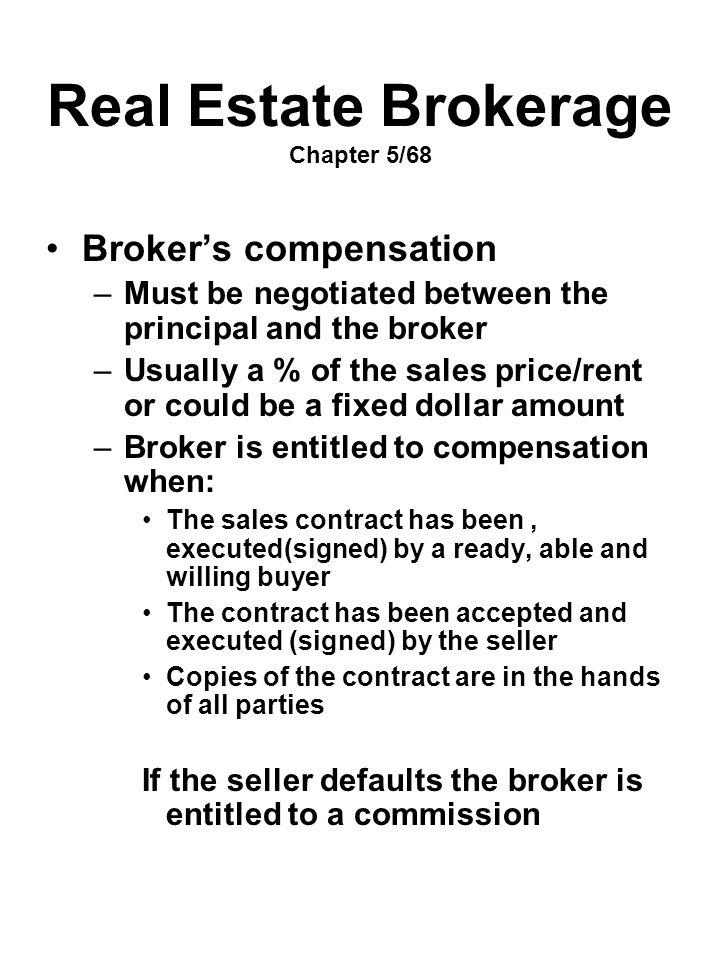 Real Estate Brokerage Chapter 5/68