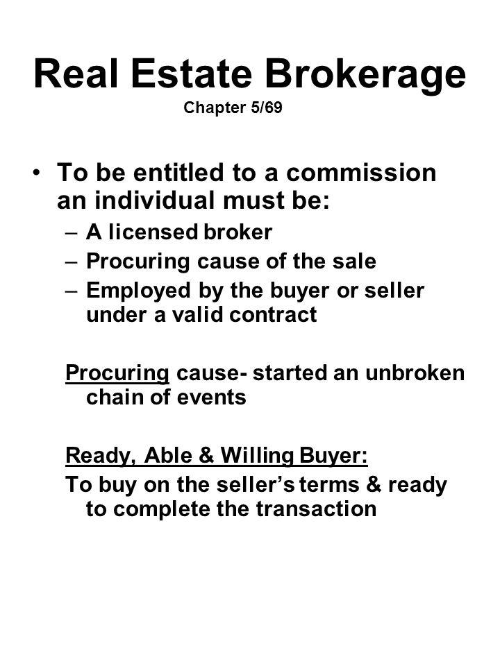Real Estate Brokerage Chapter 5/69
