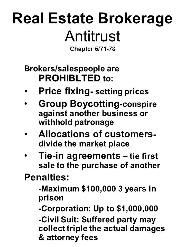 Real Estate Brokerage Antitrust Chapter 5/71-73