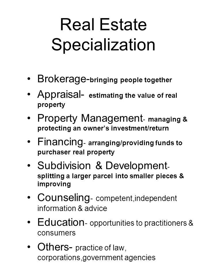 Real Estate Specialization