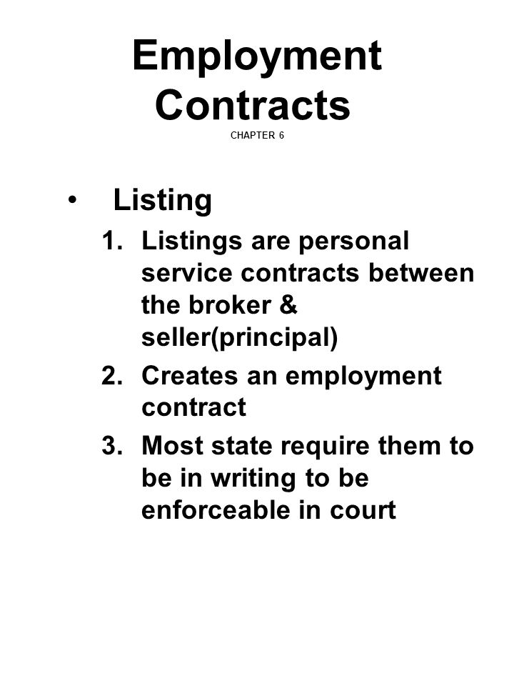 Employment Contracts CHAPTER 6