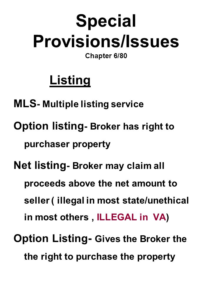 Special Provisions/Issues Chapter 6/80