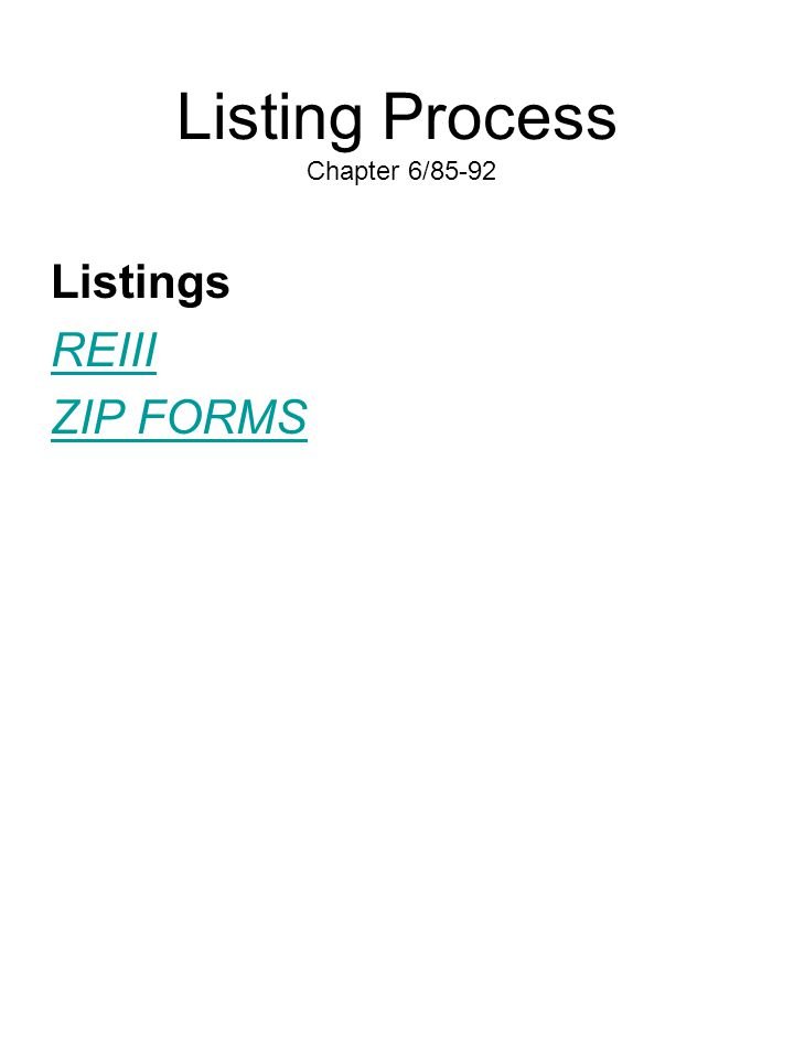 Listing Process Chapter 6/85-92