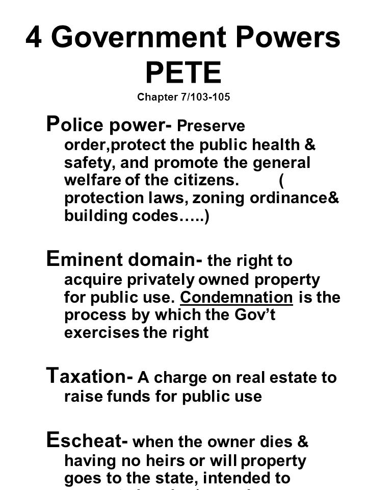 4 Government Powers PETE Chapter 7/103-105