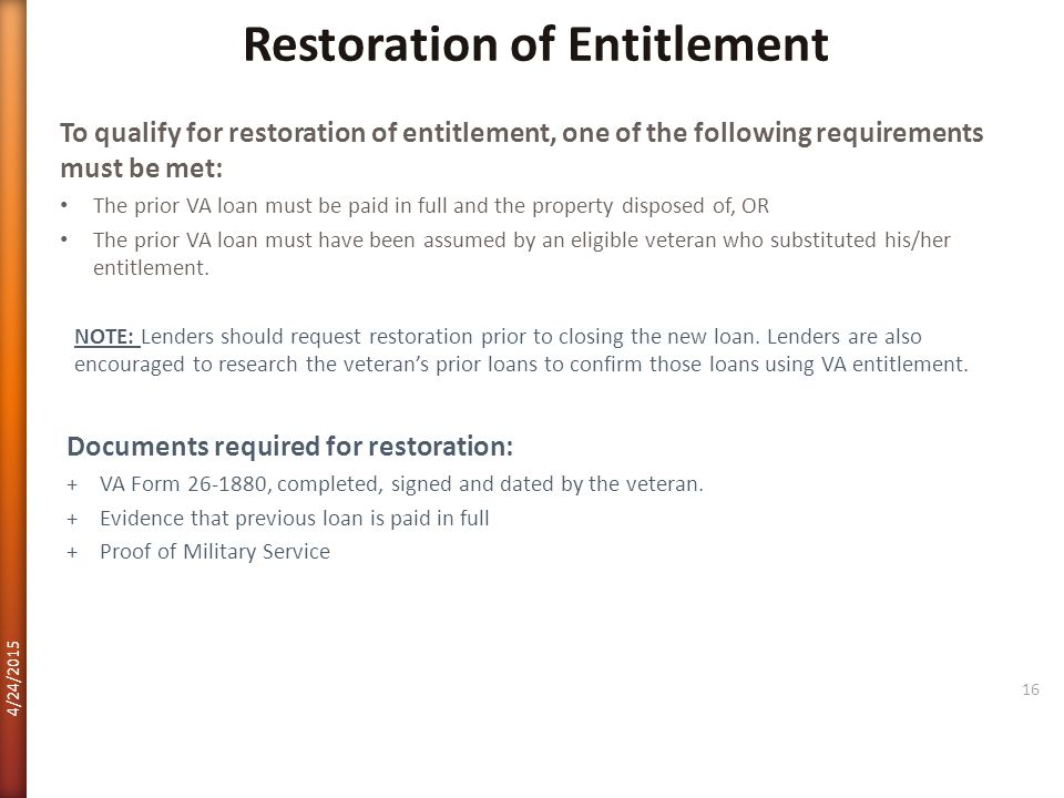 Restoration of Entitlement