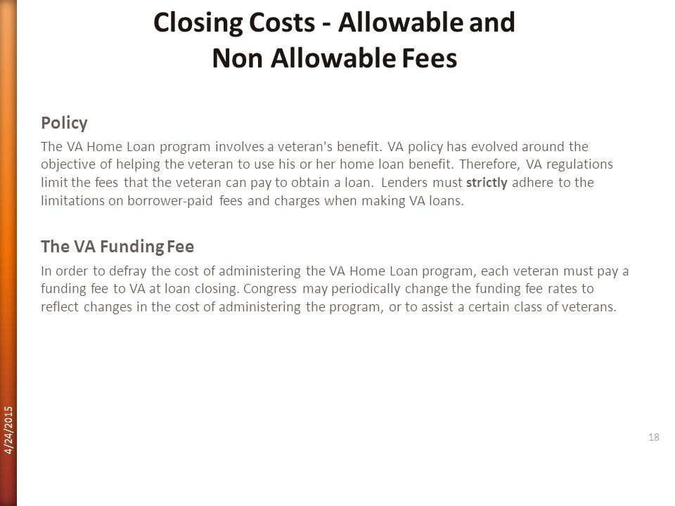 Closing Costs - Allowable and Non Allowable Fees