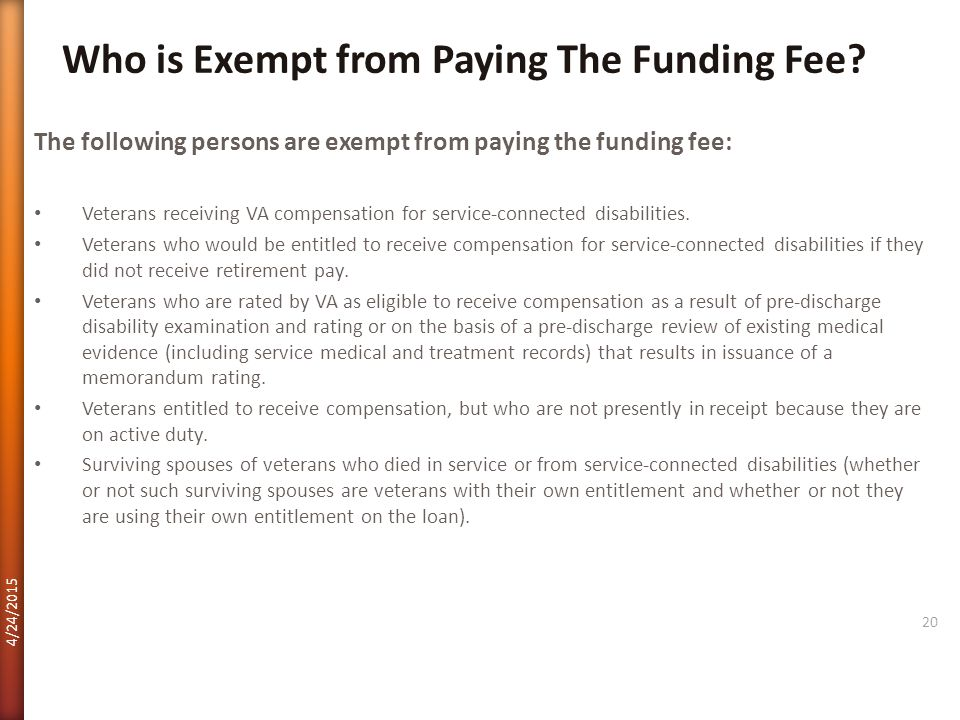 Who is Exempt from Paying The Funding Fee
