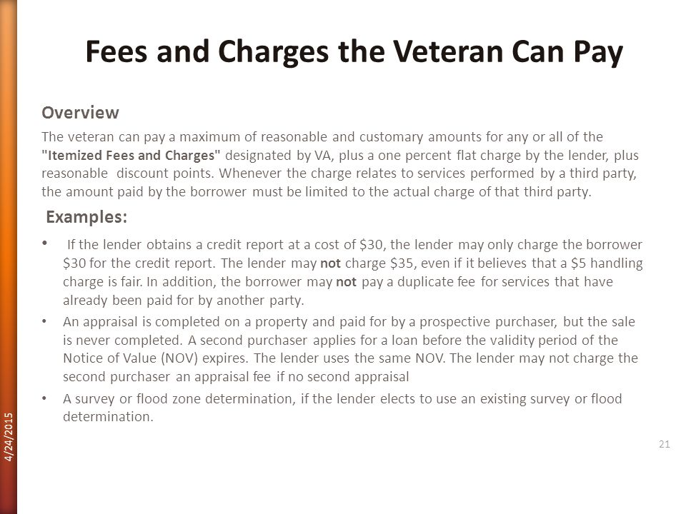 Fees and Charges the Veteran Can Pay