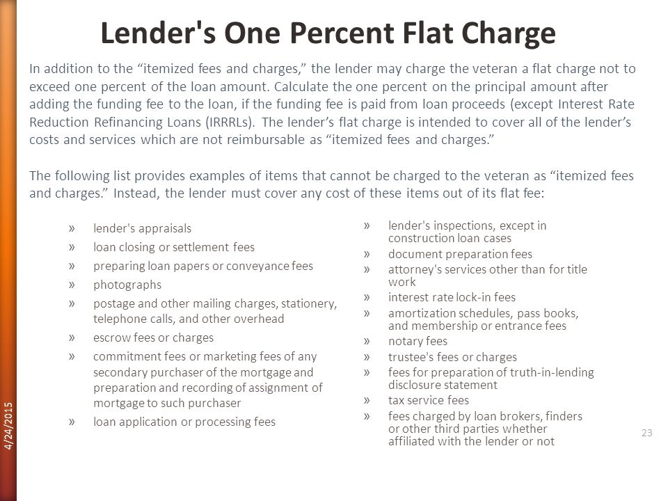 Lender s One Percent Flat Charge