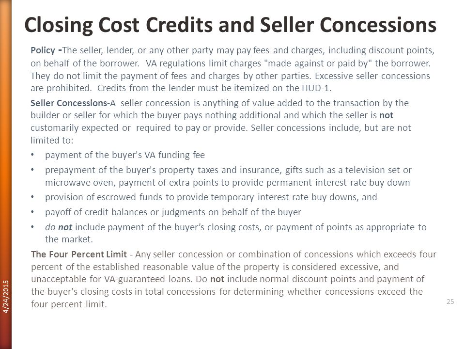 Closing Cost Credits and Seller Concessions