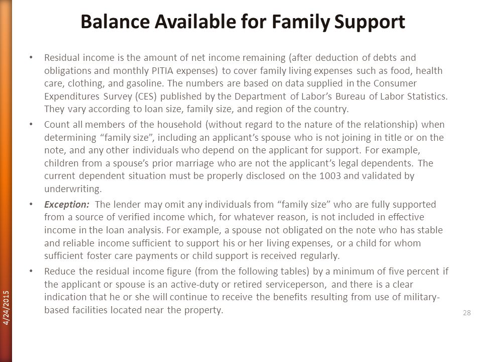 Balance Available for Family Support