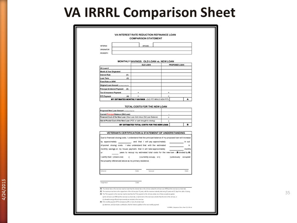 VA IRRRL Comparison Sheet