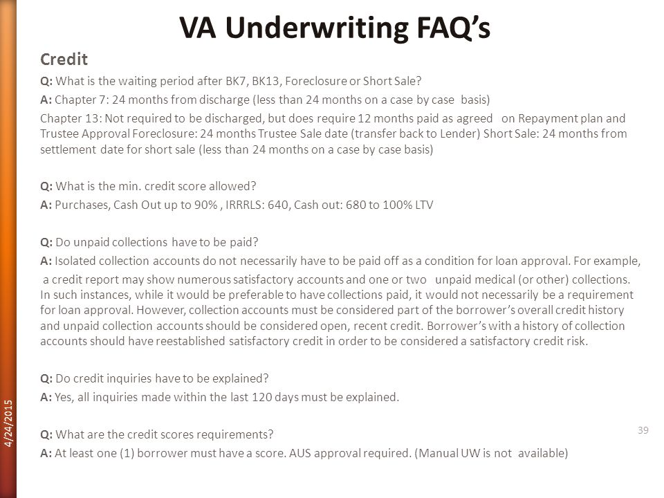 VA Underwriting FAQ's Credit