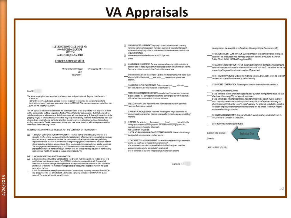 VA Appraisals 4/12/2017