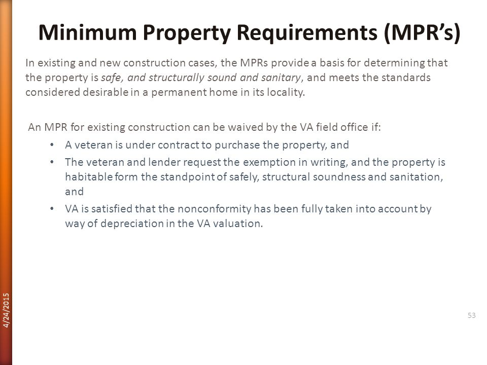Minimum Property Requirements (MPR's)