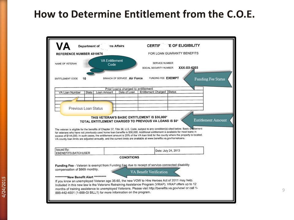 How to Determine Entitlement from the C.O.E.