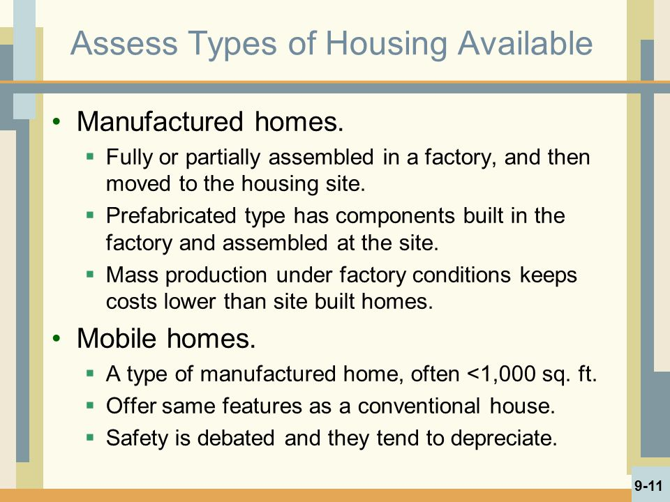 Assess Types of Housing Available