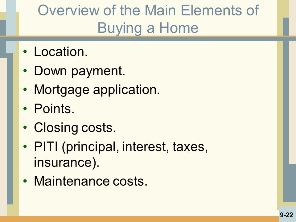 Overview of the Main Elements of Buying a Home