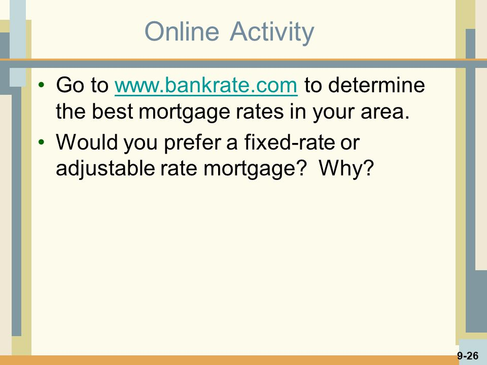 Online Activity Go to www.bankrate.com to determine the best mortgage rates in your area.