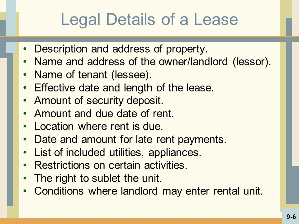 Legal Details of a Lease