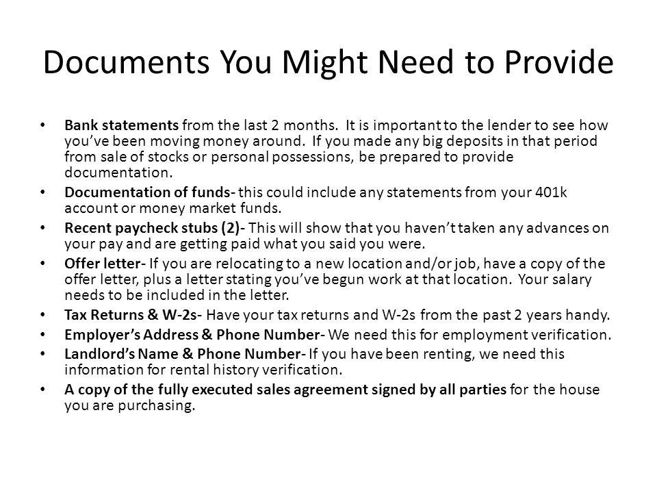 Documents You Might Need to Provide