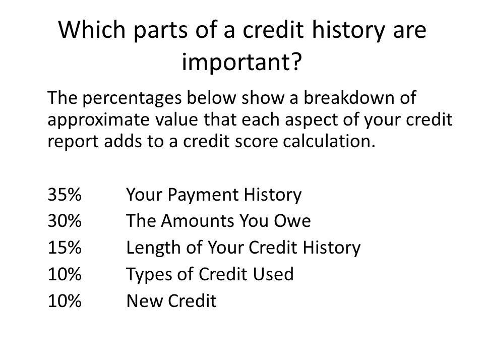 Which parts of a credit history are important
