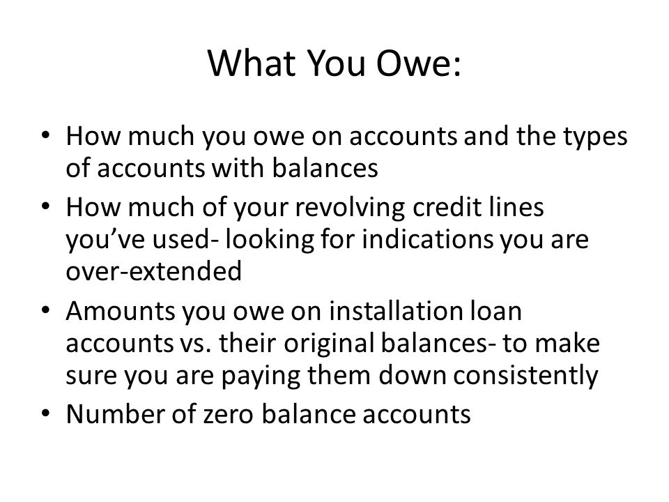 What You Owe: How much you owe on accounts and the types of accounts with balances.