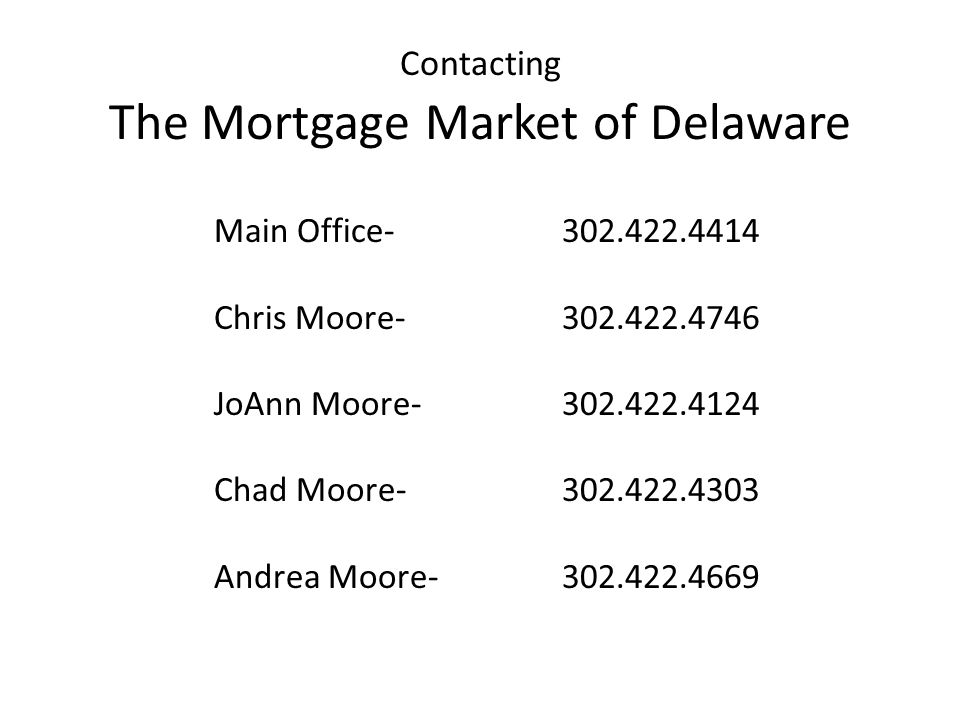 Contacting The Mortgage Market of Delaware