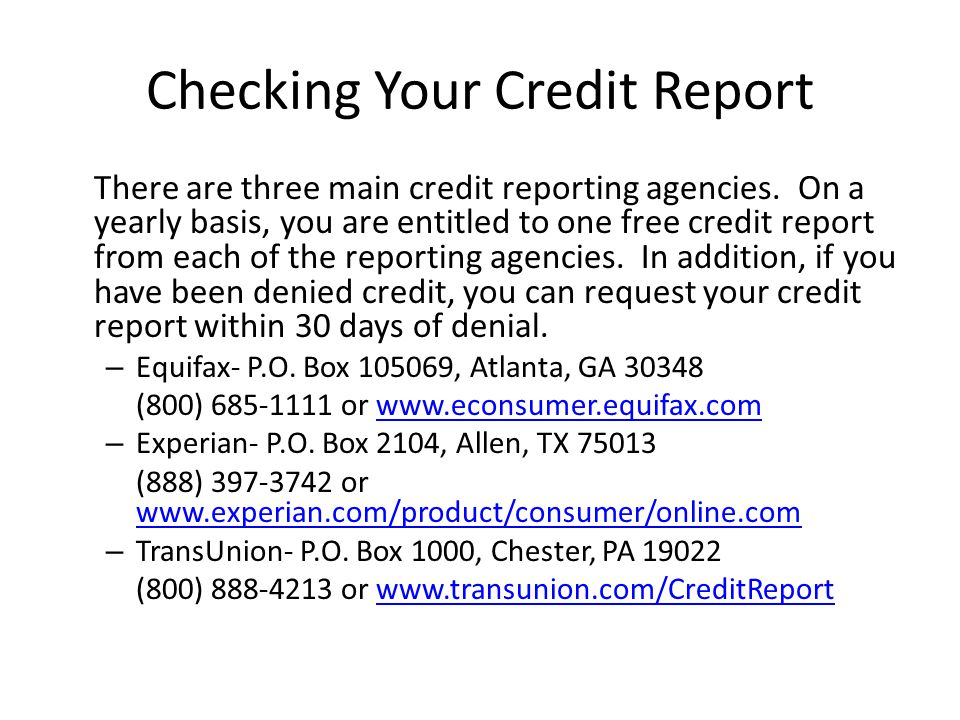 Checking Your Credit Report