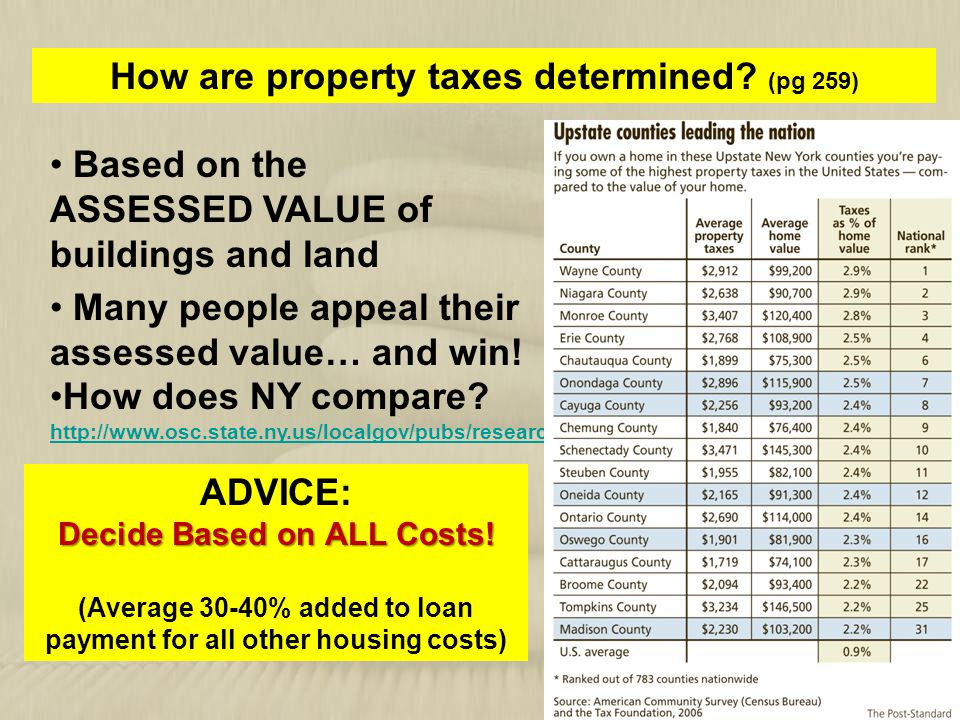 How are property taxes determined (pg 259) ADVICE: