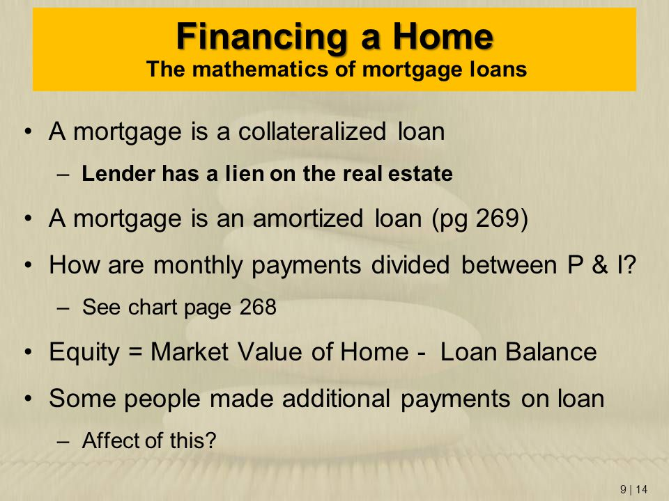 Financing a Home The mathematics of mortgage loans