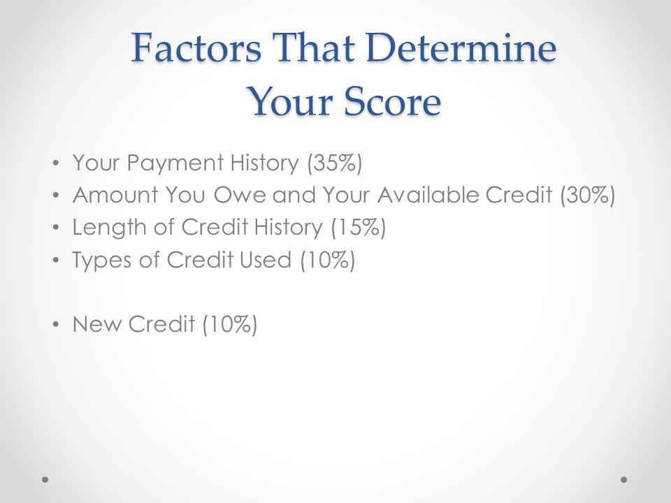 Factors That Determine Your Score