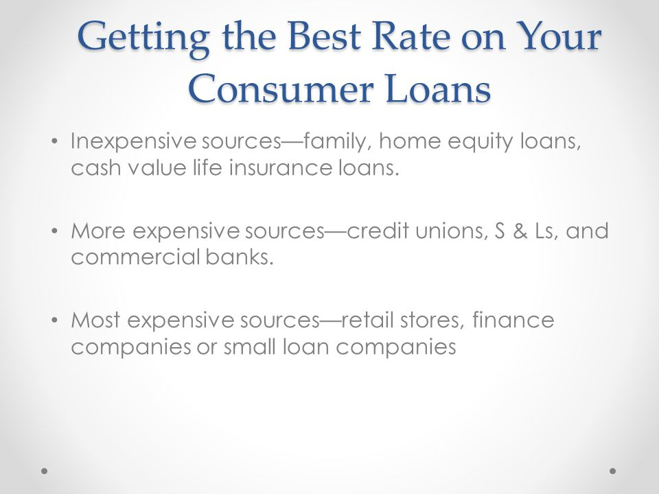 Getting the Best Rate on Your Consumer Loans