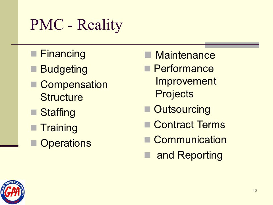 PMC - Reality Maintenance Financing Budgeting Performance