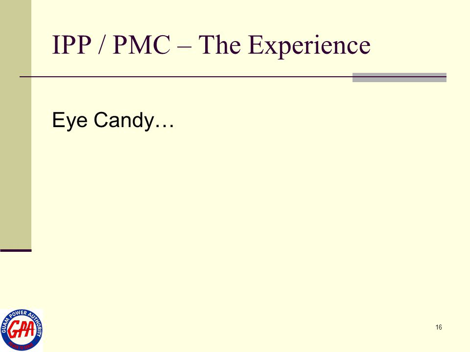 IPP / PMC – The Experience
