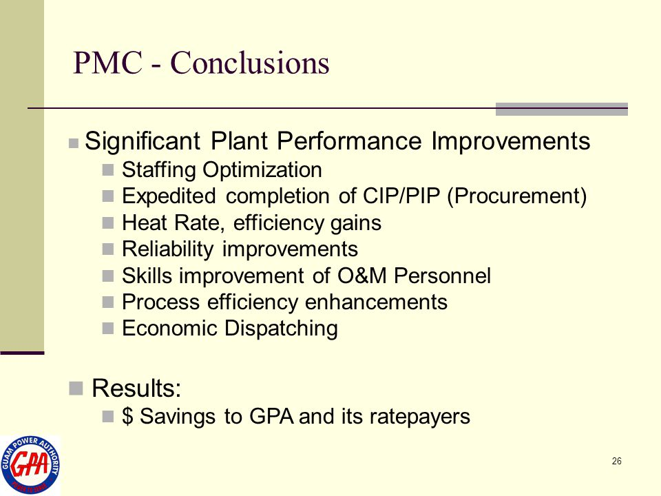 PMC - Conclusions Results: Staffing Optimization