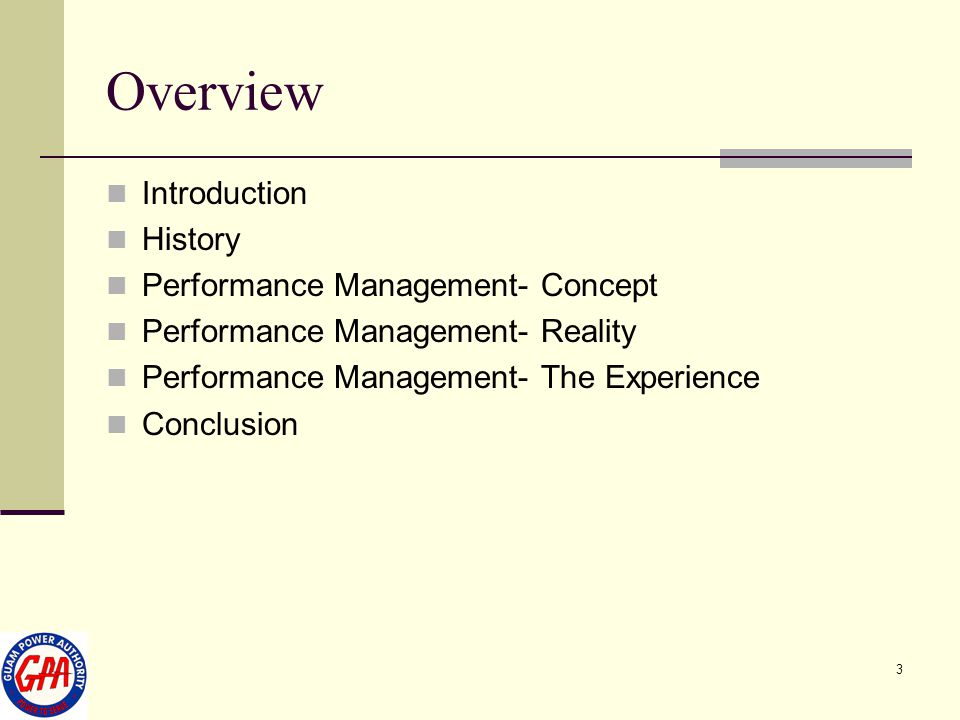 Overview Introduction History Performance Management- Concept