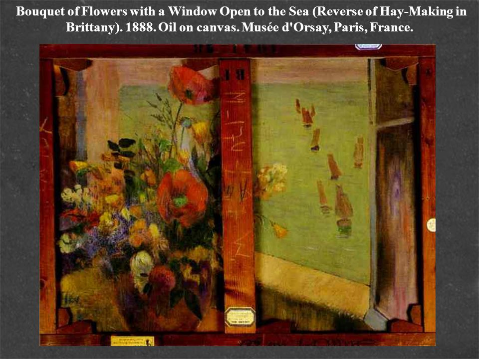 Bouquet of Flowers with a Window Open to the Sea (Reverse of Hay-Making in Brittany).